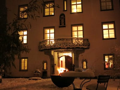 fireplace in wintertime